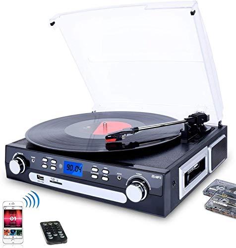 DIGITNOW! Giradischi con Altoparlanti Stereo, a Tre Velocità Bluetooth Vinile Giradischi con USB/SD/MMC per codifica/AM/FM stereo radio/cassette tape/Aux in