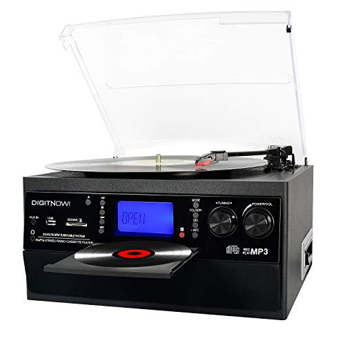 DIGITNOW! Vinile Giradischi con Bluetooth, CD, cassetta, AM / FM e Aux in radio con porta USB e telecomando encoder SD, altoparlante stereo incorporato, lettore musicale autonomo, telecomando