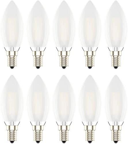 Dimmerabile Edison Lampadina Filamento LED Candela Fiamma Casquillo E14 - Potenza 4W, Luce Bianco Caldo 2700K,300LM,Angolazione fascio luce 360°, 10 pezzi