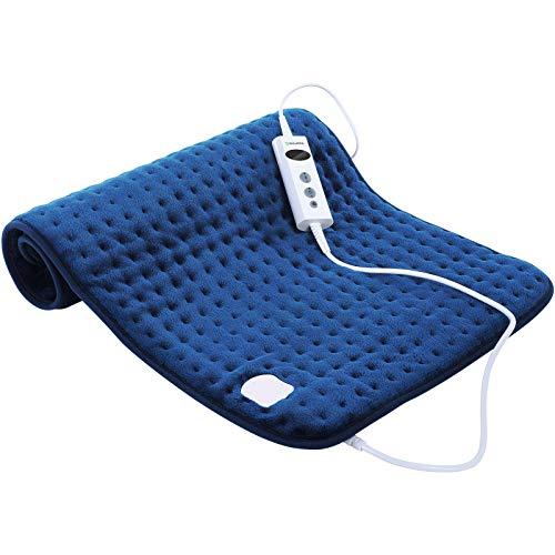 DISUPPO -45 x 85cm Cuscinetto termoforo elettrico, con 10 Livelli di Temperatura, e spegnimento automatico, Riscaldamento Rapido per Alleviare Dolori Muscolari, dal mal di schiena, Lavabile