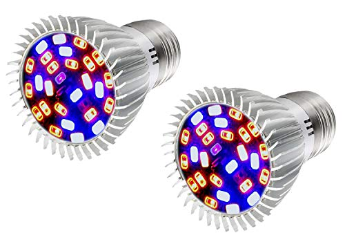 DMFSHI Lampada per Crescita di Piante, 28 SMD 5730 E27 Lampadina LED a Spettro Completo per Coltivazione Idroponica, Illuminazione di Serre, Piante Che Crescono, Fioriscono, Fruttificano (2 Pezzi)