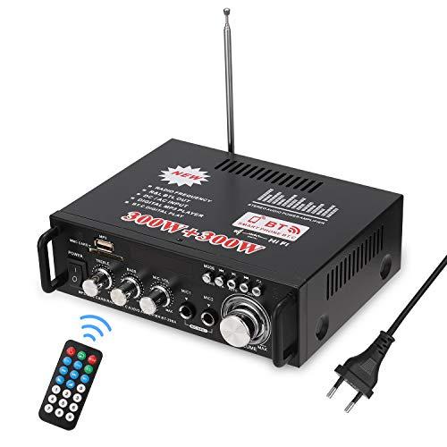 Docooler 600W Amplificatore,HiFi Audio Stereo BT Radio Portatile per Auto o Casa, con Telecomando ed Mini Display 2CH LCD, 12 V / 220 V