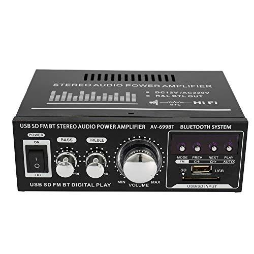 docooler Amplificatore Audio HiFi Stereo 12V / 220V Display LCD Mini 2CH BT FM Radio Portatile Auto Casa 400W Telecomando Amplificatore Audio modello: AV-699BT