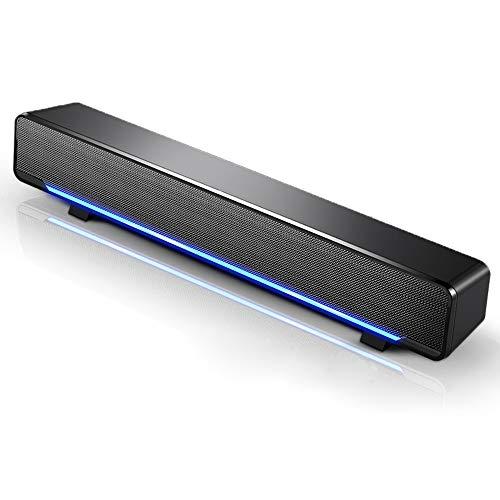 Docooler Mini Soundbar Portatile Altoparlante per Computer,con USB cablato Home Theater Stereo Subwoofer Potente Lettore Musicale Box con Spina Audio da 3,5 mm per PC/Laptop/TV/MP3/MP4