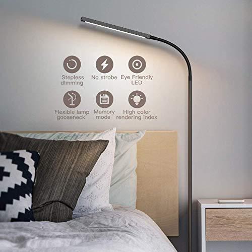 dodocool Lampada da Terra LED,12W Lampada a collo di cigno,4 Temperature di Colore e 4 Luminosità Regolabile,Memoria e funzione touch,Camera da Letto/Studio/Lettura[Classe di efficienza energetica A+]