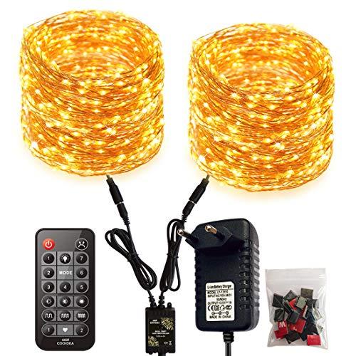 Doppie Led Stringa Luci, 2 * 300 LED 2 * 30M / 99Ft 7 modalità Catena Luminosa Filo Rame Ghirlanda Luminosa con telecomando e interattivo,per Natale Giardino Casa Feste Matrimonio (Bianco Caldo)