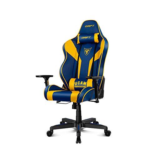 Drift DR111UCAM - Sedia da gaming, in ecopelle, blu/giallo, professionale, schienale reclinabile, altezza regolabile, braccioli regolabili