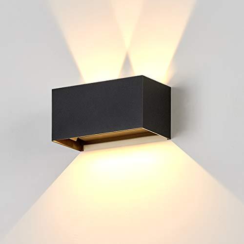 Dr.lazy 20W Lampada da Parete per Interni/Esterno LED Moderno, Applique da Parete Muro in Alluminio Angolo,Lampada Muro su e Giù Regolabile Design Angolo IP65 Impermeabile (Nero/Bianco Caldo)