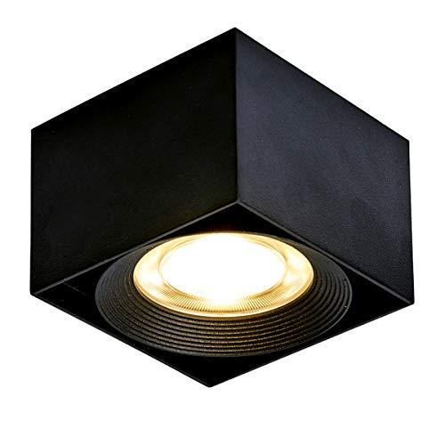 Dr.Lazy - Lampada da soffitto a LED regolabile 10W LED regolabile, plafoniera, faretto di superficie, faretti montati, faretto quadrato, luce interna, 10X10x7cm (nero-3000K) [Classe energetica A+]