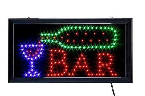 Ducomi Insegna Luminosa Led Bar - Pannello Vintage con Neon Luminose ad Intermittenza - Ideale per Negozi, Pub, Pizzerie o Casa - 48 x 25 x 2,5 cm (Bar)