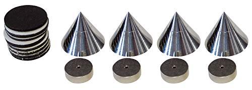 Dynavox 204605 Supporti antivibrazioni per altoparlanti, set da 4, colore: Cromo