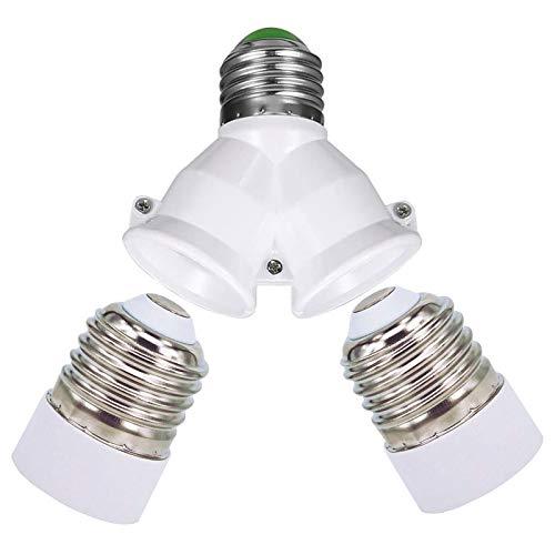 E27 1 a 2 E27 Socket Converter, 2 PZ E27 a E14 Socket Converter, lampadina convertitore adattatore sdoppiatore Presa Base per lampadine a LED/incandescenza/CFL