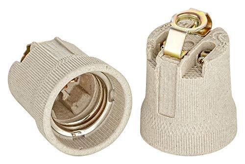 E27, attacco in ceramica con staffa di fissaggio con filettatura interna M10 x 1, filettatura Edison RoHS fino a 250 V e 4 A di ISOLATECH; (qui: 1 pezzo).