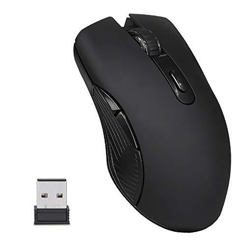 EasyULT Mouse Gaming Wireless Ricaricabile, Mouse Senza Fili 2,4G 2400DPI con Ricevitore Nano, 6 Pulsanti, 4 Livelli DPI, Mouse USB Portatile da Ottico, per PC/Computer/MacBook-Nero