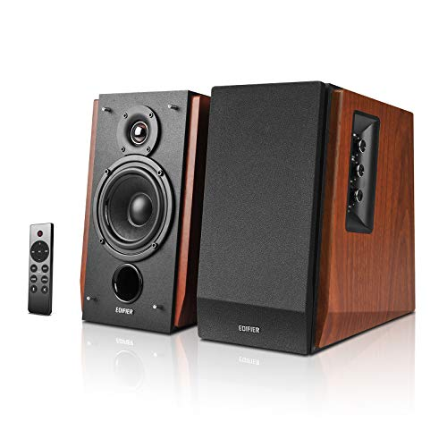 Edifier R1700BTs Altoparlanti Diffusori da Scaffale Active - Bluetooth v5.0, 2.0 Altoparlante Monitor da Studio Near Field Wireless - 66w RMS con Uscita Subwoofer - Custodia in Legno