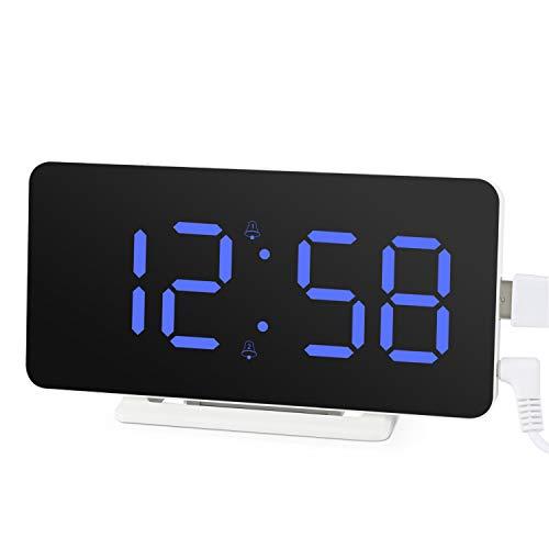 Edillas Sveglia Digitale, Ampio Display a LED Doppio Allarme,Orologio con Superficie a Specchio con Funzione Snooze e 3 Livelli di Luminosità Sveglia con Connessione di Ricarica USB Regolabile (Blu)