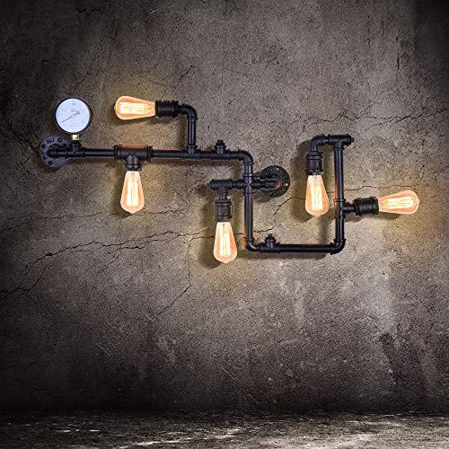 EDISLIVE Industriale Lampade da parete Illuminazioni per pareti Vintage Lampada adatta Applique da parete per Soggiorno Bar Ristorante (nero)