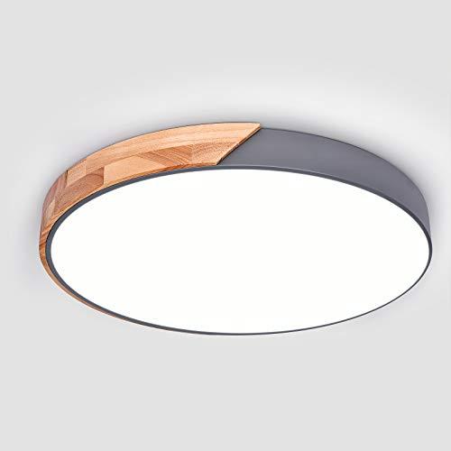 EDISLIVE LED Plafoniera il giro Legna Plafoniere da incasso Camera da letto Illuminazione Soggiorno Lampada da soffitto Dimmerabile da incasso (grigio, 40cm-24W)