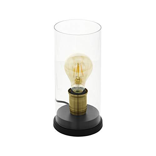 Eglo 43105 - Lampada da tavolo Smyrton, 1 luce industriale, vintage, retrò, lampada da comodino in acciaio e vetro, lampada da soggiorno in nero, brunito, trasparente, con interruttore, attacco E27