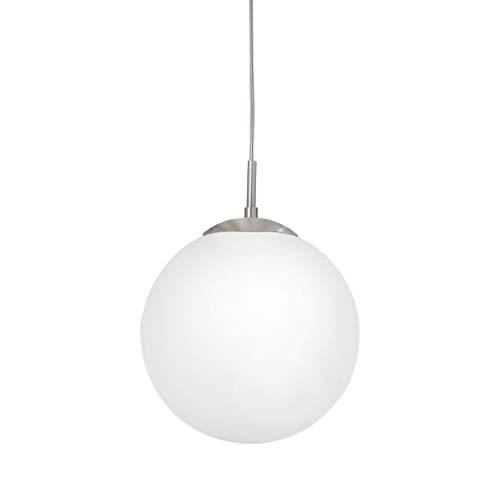 Eglo 85262lampadario Rondo con vetro opale opaco, diametro 25cm, in acciaio, in nichel opaco
