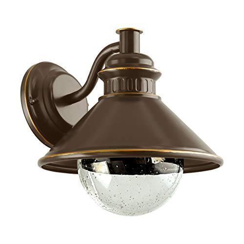 Eglo Albacete - Lampada da parete per esterni a 1 luce, in acciaio zincato, Vetro: trasparente con bolle d'aria, colore: marrone, rame, attacco: E27, IP44
