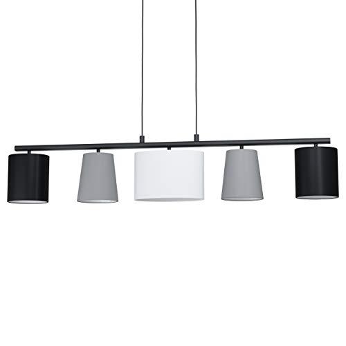 Eglo Almeida 1, lampada a sospensione in tessuto a 5 luci, lampada a sospensione in acciaio e tessuto, L 1200 mm, colore: nero, grigio, bianco, attacco: E14
