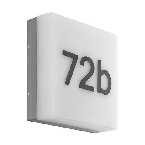EGLO Applique da esterno LED CORNALE, lampada da esterno a 1 punto luce con sensore di luce diurna e numeri civici, applique in plastica, colore: antracite, bianco, IP44