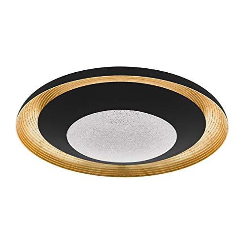 Eglo Canicosa 2 - Plafoniera a LED a 2 luci, in metallo battuto, plastica nera, oro, con telecomando, cambio temperatura colore (caldo e freddo), luce notturna, dimmerabile, diametro 76,5 cm