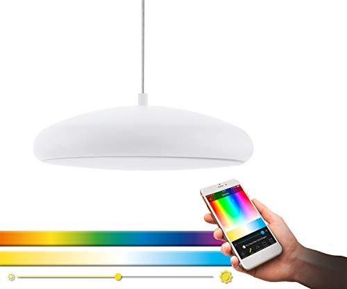 Eglo Connect, lampada a sospensione a LED Riodeva-C, 1 lampada a sospensione, in acciaio e plastica in bianco con cambio di temperatura di colore (caldo, neutro, freddo), RGB, dimmerabile, 98046