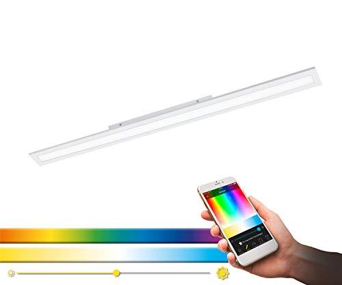 EGLO connect, plafone LED SALOBRENA-C, plafoniera Smart Home, materiale: alluminio, plastica, colore: bianco, 119,5 x 10 cm, dimmerabile, tonalità e colori del bianco regolabili