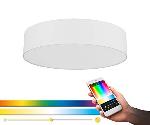 Eglo connect - Plafoniera a LED Romao-C, 1 lampada da soffitto in acciaio, tessuto e plastica bianca, con telecomando, cambia temperatura colore (caldo, neutro, freddo), RGB, dimmerabile, Ø 57 cm