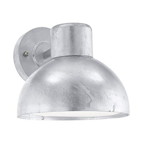 Eglo Entrimo - Lampada da parete per esterni a 1 luce, in acciaio zincato a caldo, colore: argento, attacco E27, IP44