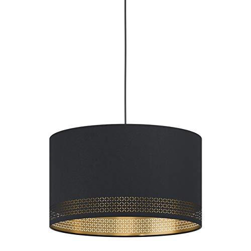 Eglo Esteperra, 1 lampada a sospensione vintage, retrò, lampada a sospensione in acciaio e tessuto in nero, oro, lampada da tavolo da pranzo, lampada da soggiorno con attacco E27, Ø 38 cm