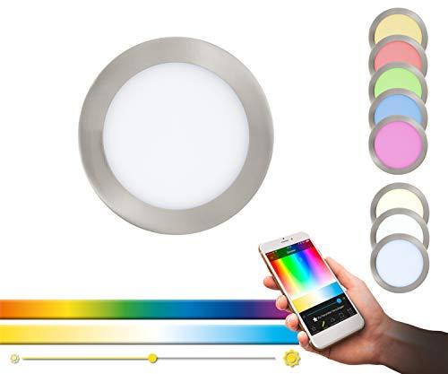 EGLO FUEVA Connect-Faretto da Incasso con Cambio Controllo Tramite Telecomando, App o Alexa, Color Nichel Opaco