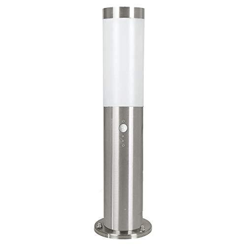 Eglo Helsinki - Lampada da esterno a LED con sensore di movimento, in acciaio inox e plastica, colore: argento, bianco, attacco: E27, IP44