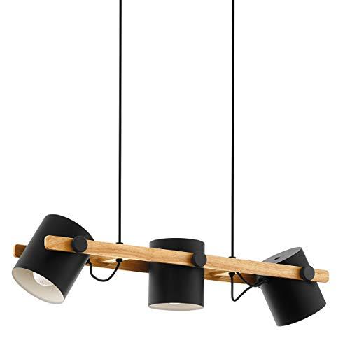 Eglo Hornwood, lampada a sospensione vintage a 3 luci, design industriale, retrò, in acciaio e legno, colore: nero, crema, marrone, attacco: E27