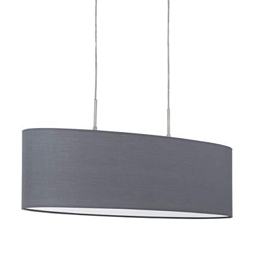 Eglo - Lampada a sospensione Pasteri a 2 luci, in tessuto a sospensione, ovale, in acciaio e tessuto, colore: nichel opaco, grigio, attacco: E27, L: 75 cm
