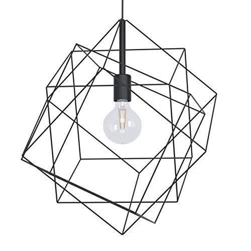 Eglo - Lampada a sospensione Straiton, 1 lampada a sospensione vintage, industriale, moderna, in acciaio nero, lampada da tavolo da pranzo con attacco E27, Ø 51,5 cm