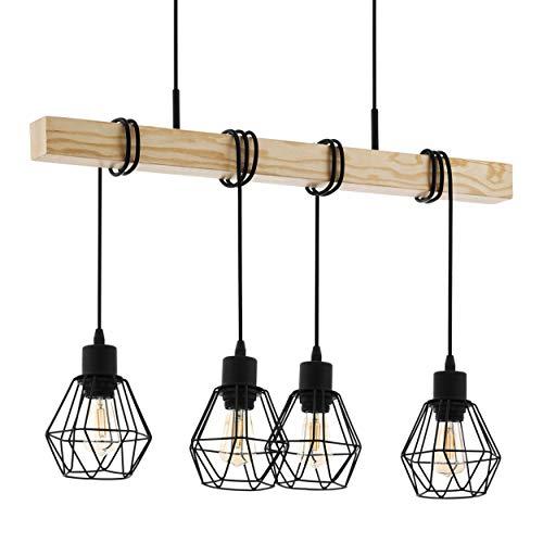 Eglo, lampada a sospensione Townshend 5, 4 luci, vintage, design industriale, retrò, in acciaio e legno, colore: nero, marrone, attacco: E27