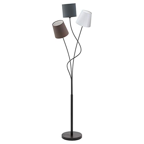Eglo - Lampada a stelo, Acciaio, E14, Nero/Antracite/Marrone/Bianco, 27.5 x 3.5 x 152 cm, acciaio;tessile