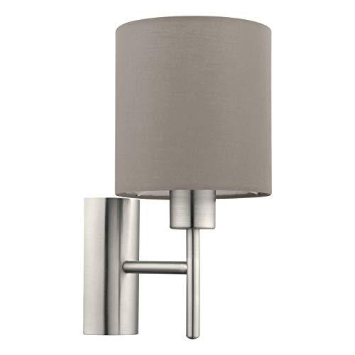 Eglo - Lampada da parete Pasteri, 1 lampada da parete in tessuto, materiale: acciaio, tessuto, colore: Nichel opaco, tortora, attacco: E27, interruttore incluso