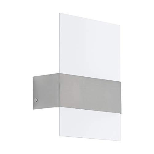 Eglo - Lampada da parete per esterni a LED, 2 luci, lampada da parete in acciaio inox, colore: argento, vetro bianco, satinato, IP44