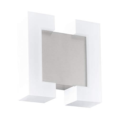 Eglo, lampada da parete per esterni a LED Sitia, 2 luci, lampada da parete in acciaio zincato e plastica, colore: nichel opaco, IP44