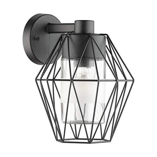 Eglo - Lampada da parete per esterni Canove, 1 lampada da parete in acciaio, colore: nero, vetro trasparente, attacco: E27, IP44
