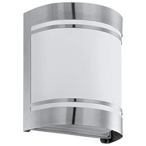 Eglo - Lampada da parete per esterni Cerno, 1 luce, lampada da parete in acciaio inox, colore: argento, bianco, vetro bianco, satinato, attacco: E27, IP44