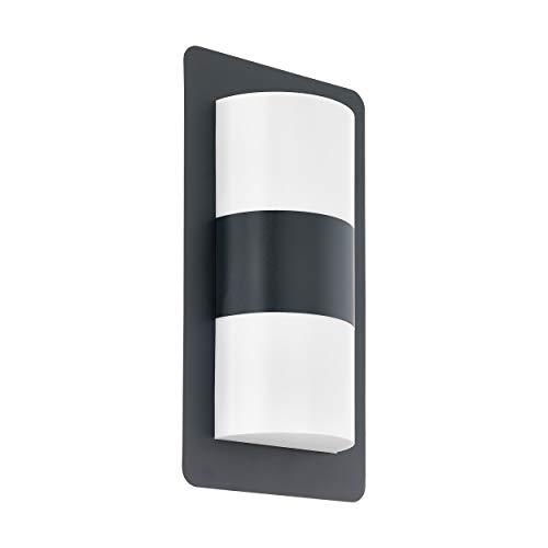 Eglo - Lampada da parete per esterni Cistierna, 2 luci, lampada da parete in acciaio, plastica, attacco: E27, IP44, antracite, bianco