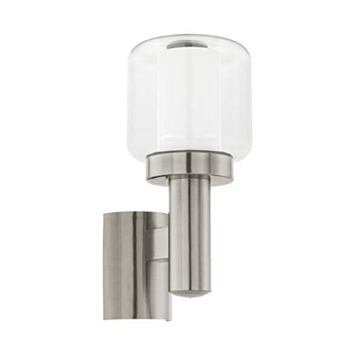 Eglo, lampada da parete per esterni poliento, 1 luce, lampada da parete in acciaio inox, plastica e vetro, colore: argento, bianco, attacco: E27, IP44