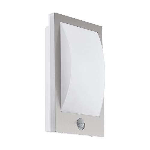 Eglo - Lampada da parete per esterni Verres, 1 lampada da esterno con sensore di movimento, lampada da parete con sensore di movimento, in acciaio inox e plastica, colore: argento, bianco, IP44