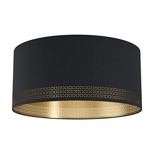 Eglo, lampada da soffitto Esteperra, 1 lampada da soffitto vintage, retrò, lampada da soggiorno in acciaio e tessuto in nero, oro, lampada da cucina, corridoio, con attacco E27