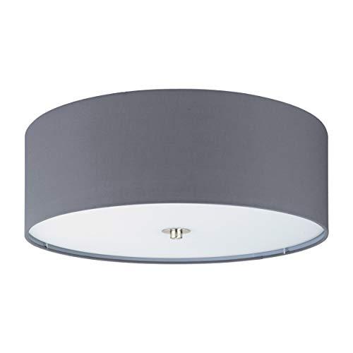 Eglo, lampada da soffitto Pasteri a 3 luci, in tessuto, materiale: acciaio, tessuto, vetro, colore: nichel opaco, grigio, attacco: E27, diametro: 47,5 cm